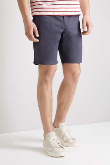 Moss 1851 Tailored Fit Steel Blue Stretch Chino Shorts
