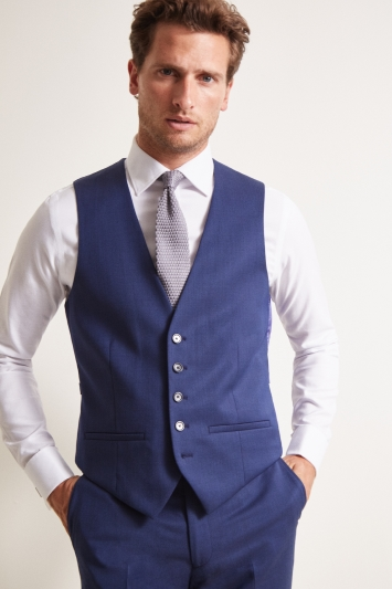 Ted Baker Tailored Fit Bright Blue Pindot Waistcoat