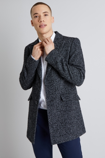 Moss London Slim Fit Light Grey Textured Herringbone Overcoat