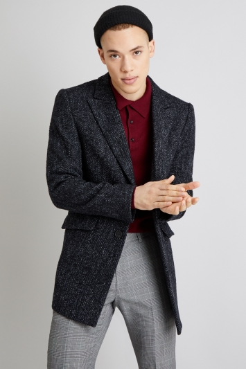 Moss London Slim Fit Dark Grey Herringbone Overcoat