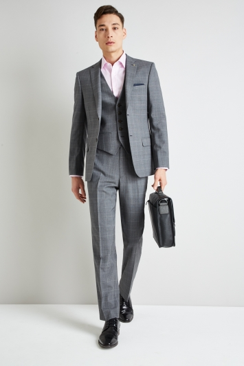 Ted Baker Gold Tailored Fit Grey Glen Check Suit