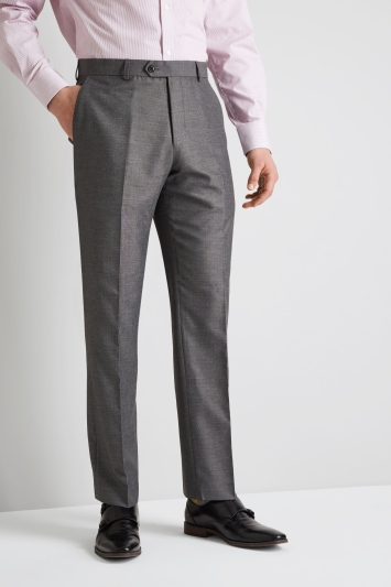 Moss Esq. Regular Fit Silver Grey Sharkskin Trouser