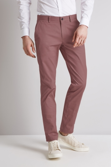 Moss London Skinny Fit Dusty Pink Stretch Chino