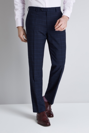 Moss Esq. Regular Fit Mid Blue Check Trouser