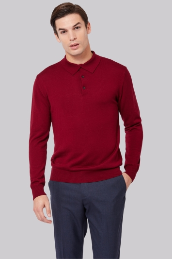 Moss 1851 Wine Polo Neck Merino Jumper