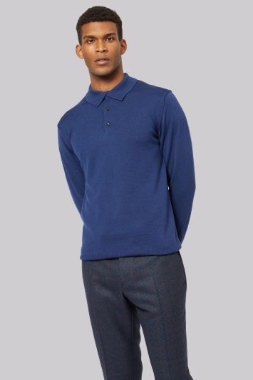 Moss 1851 Blue Polo Neck Merino Jumper