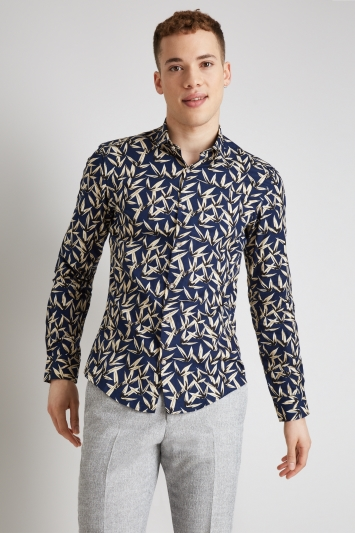Moss London Extra Slim Fit Navy & Camel Single Cuff Leaf Print Casual Shirt