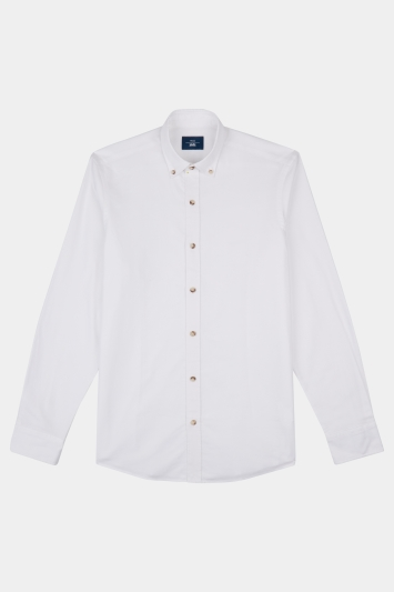 Moss 1851 Slim Fit White Oxford Texture Button Down Casual Shirt