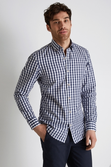 Moss 1851 Slim Fit Navy Gingham Button Down Casual Shirt