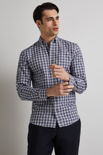 Moss 1851 Slim Fit Blue & Brown Check Button Down Casual Shirt