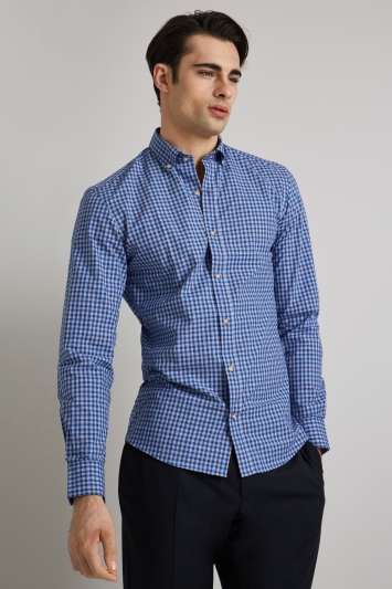 Moss 1851 Slim Fit Blue & Red Check Button Down Casual Shirt