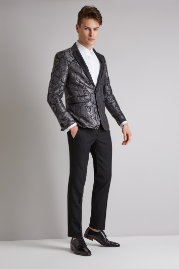 Moss London Skinny Fit Black and Silver Paisley Jacquard Dress Jacket