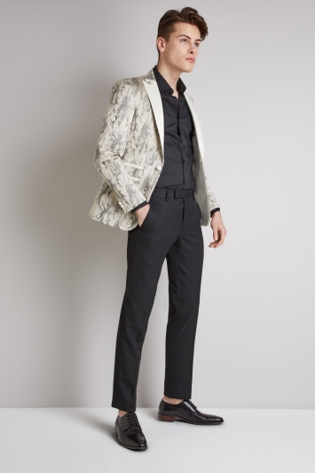 Moss London Skinny Fit White with Silver Dress Jacket