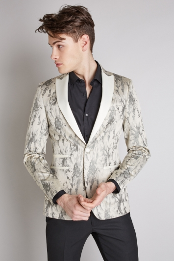Moss London Slim Fit White with Silver Dress Jacket