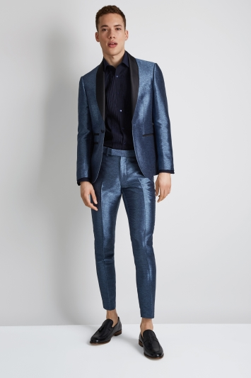 Moss London Skinny Fit Light Blue Metallic Jacket