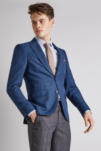 Moss London Slim Fit Blue Texture Jacket