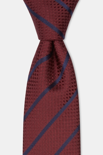 Moss 1851 Wine with Navy Stripe Silk Tie
