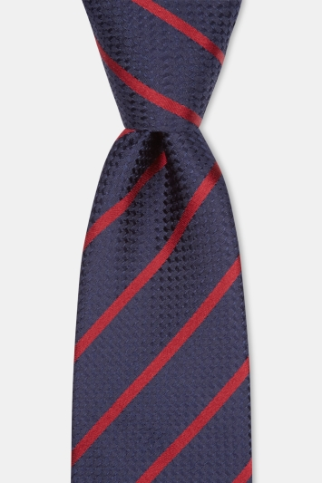 Moss 1851 Navy with Wine Stripe Silk Tie