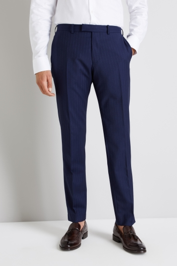 Moss 1851 Italian Tailored Fit Blue Broken Stripe Trouser