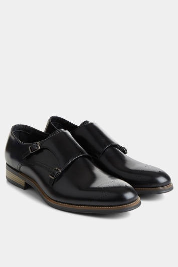 John White Healey Black Monk Shoe with Brogue detailing