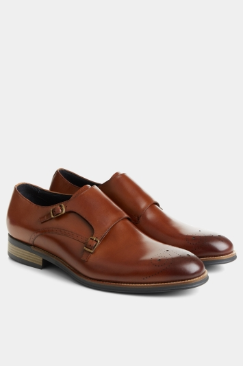 John White Healey Tan Monk Shoe with Brogue detailing