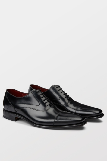 Loake Sharp Black Polished Toe Cap Oxford Shoe