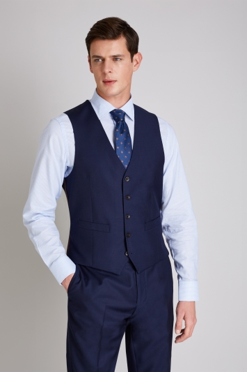 Ermenegildo Zegna Cloth Tailored Fit Naples Blue Waistcoat