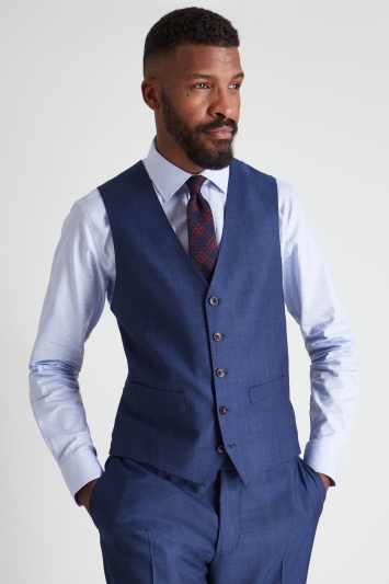 Ermenegildo Zegna Cloth Tailored Fit Blue Semi Plain Waistcoat