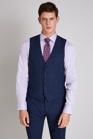Ermenegildo Zegna Cloth Tailored Fit Navy Check Waistcoat