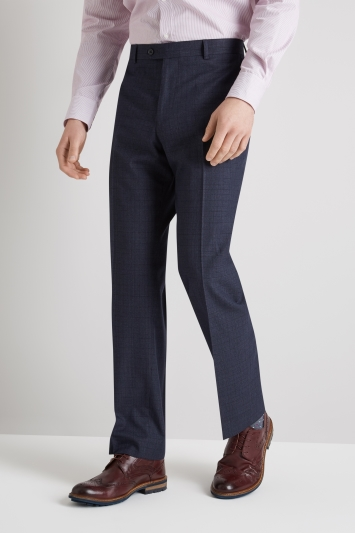 Moss Esq. Regular Fit Blue Marl Check Trouser