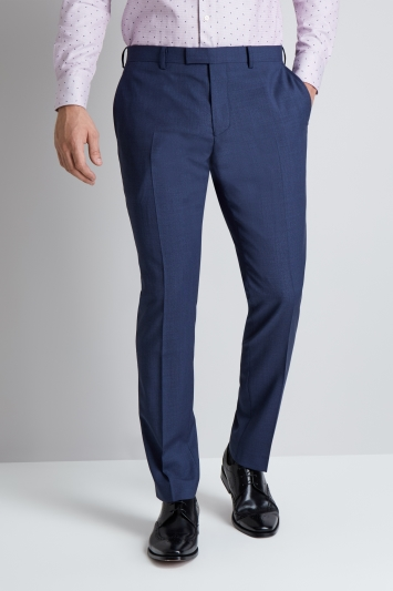 Moss 1851 Tailored Fit Blue Basketweave Trousers