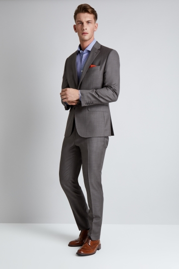 Moss 1851 Tailored Fit Neutral Sharskin Jacket
