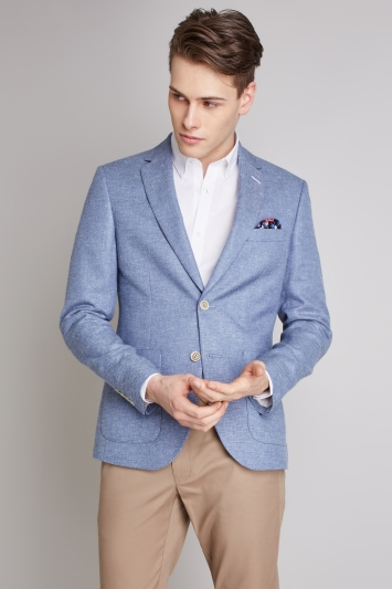 Moss London Skinny Fit Sky Textured Jacket