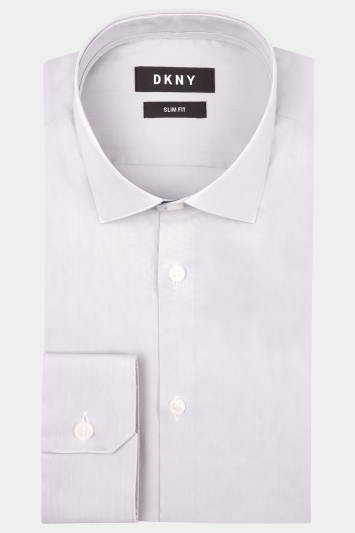 DKNY Slim Fit Grey Single Cuff Stretch Shirt
