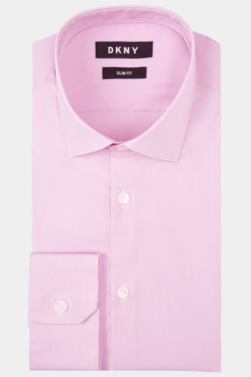DKNY Slim Fit Pink Single Cuff Stretch Shirt
