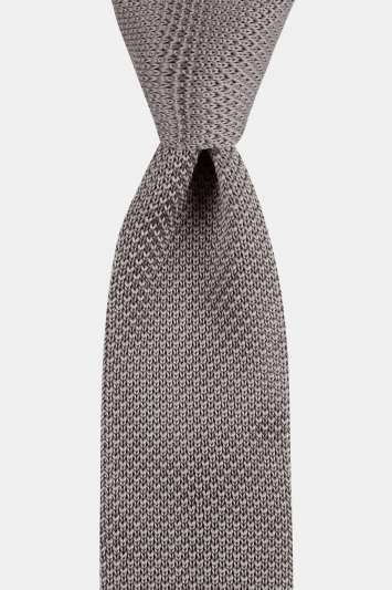 Moss London Silver Knitted Tie