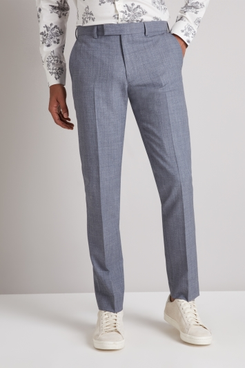 Moss London Skinny Fit Light Blue Crepe Trousers