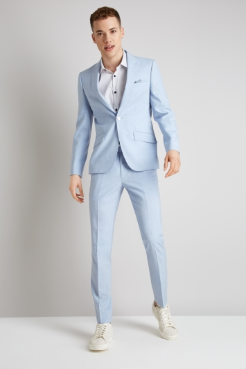 Moss London Skinny Fit Glacier Blue Jacket