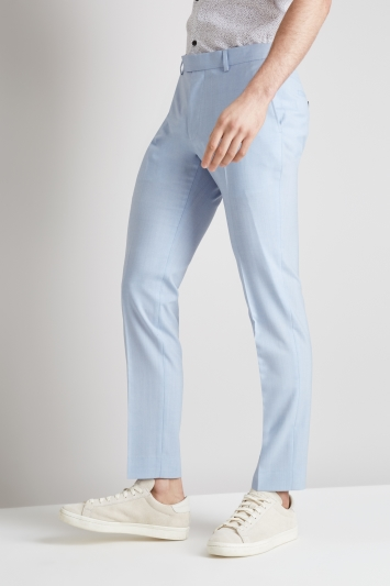Moss London Skinny Fit Glacier Blue Trousers