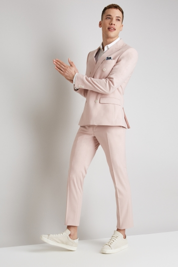 Moss London Skinny Fit Dusty Pink Doubled Breast Jacket