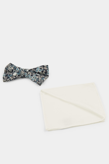 Moss London Navy Floral Cotton Bow Tie & Pocket Square Set
