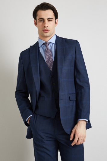 Moss Esq. Regular Fit Bright Blue Check Jacket