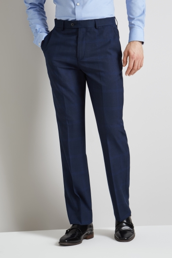 Moss Esq. Regular Fit Bright Blue Check Trousers