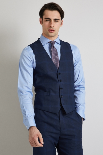 Moss Esq. Regular Fit Bright Blue Check Waistcoat
