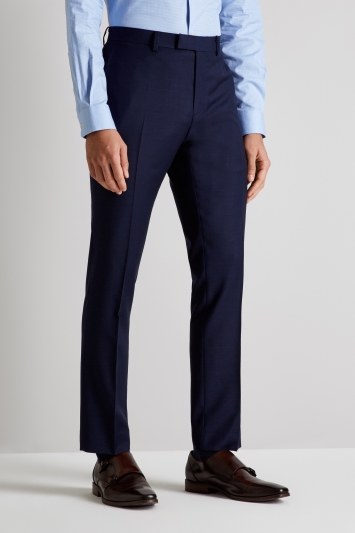 DKNY Slim Fit Panama Blue Open Weave Trousers