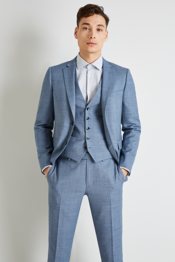 DKNY Slim Fit Light Blue Openweave Jacket