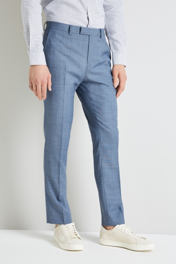 DKNY Slim Fit Light Blue Openweave Trousers
