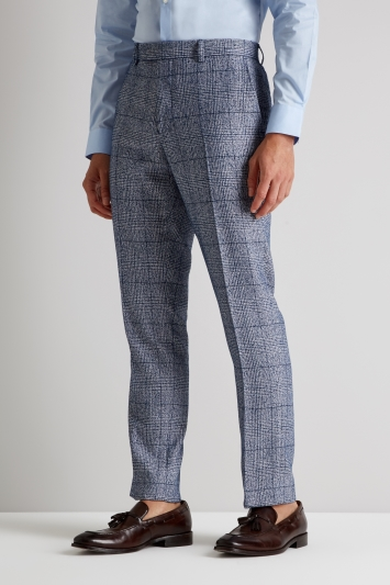 Moss London Skinny Fit Blue Boucle Check Trousers