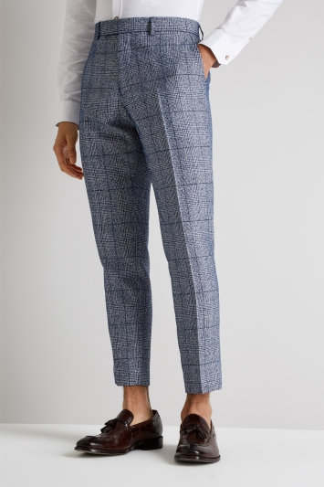 Moss London Skinny Fit Blue Boucle Check Cropped Trousers