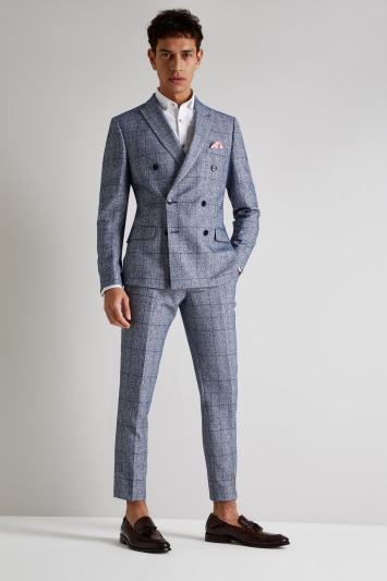 Moss London Skinny Fit Blue Boucle Check Double Breasted Jacket